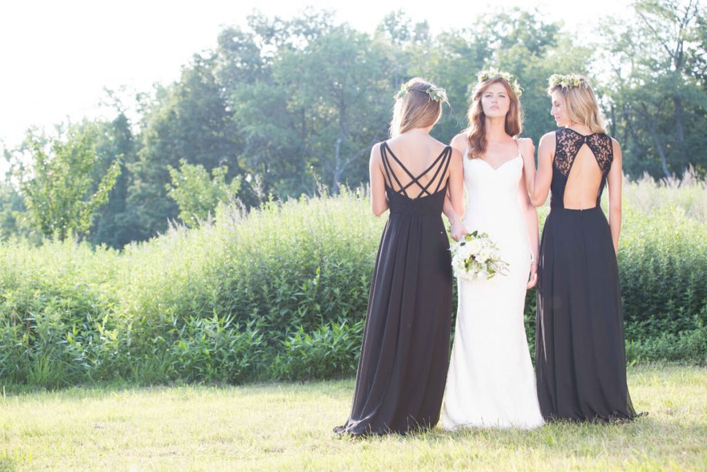Bari Jay black white bridesmaid dresses detail