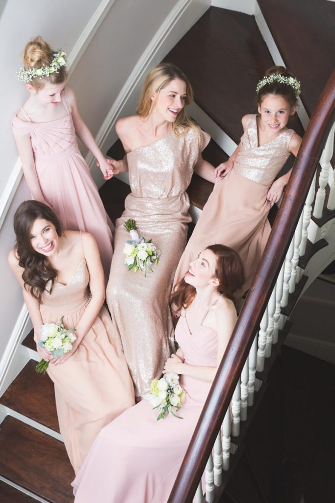 Bari Jay sequin bridesmaids and junior bridesmaids dresses