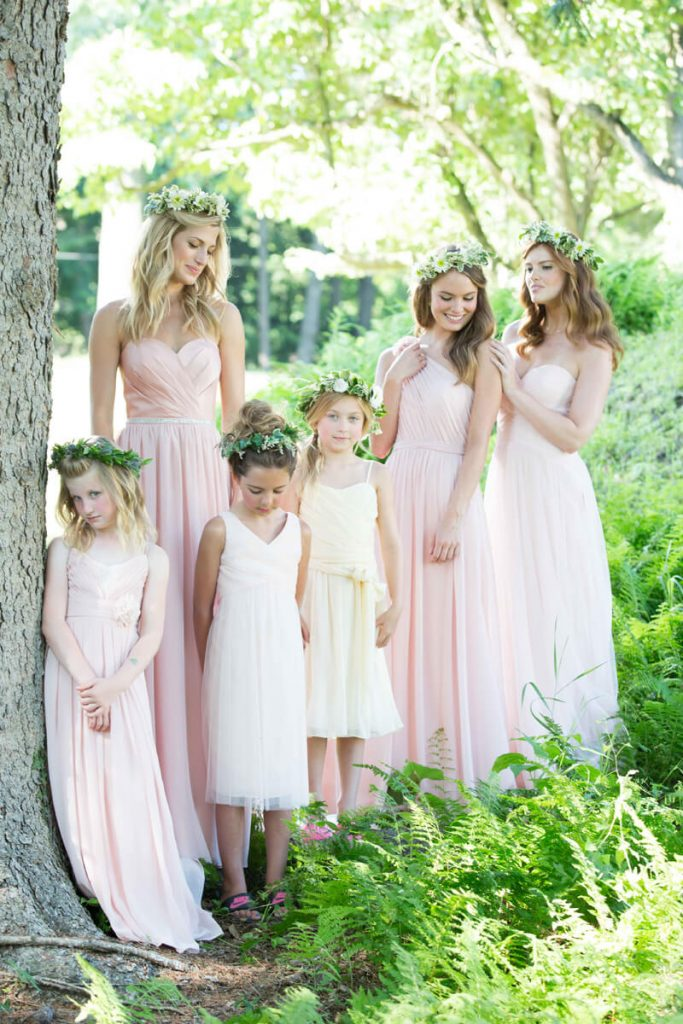 Bari Jay pink bridesmaid dresses