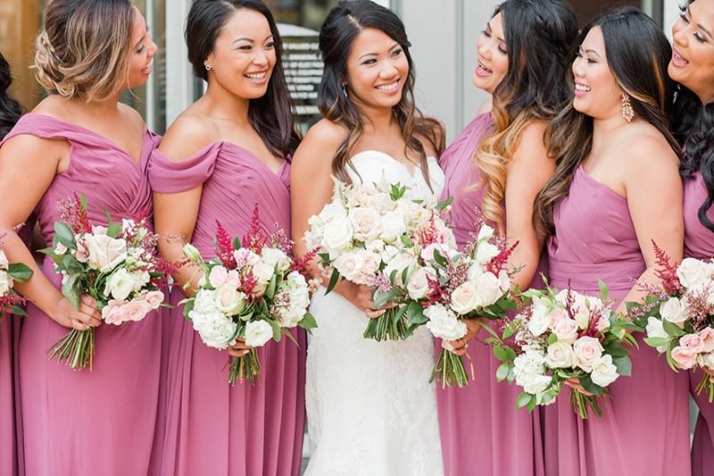 Close up of Bridesmaids in Rose Bari Jay Dresses