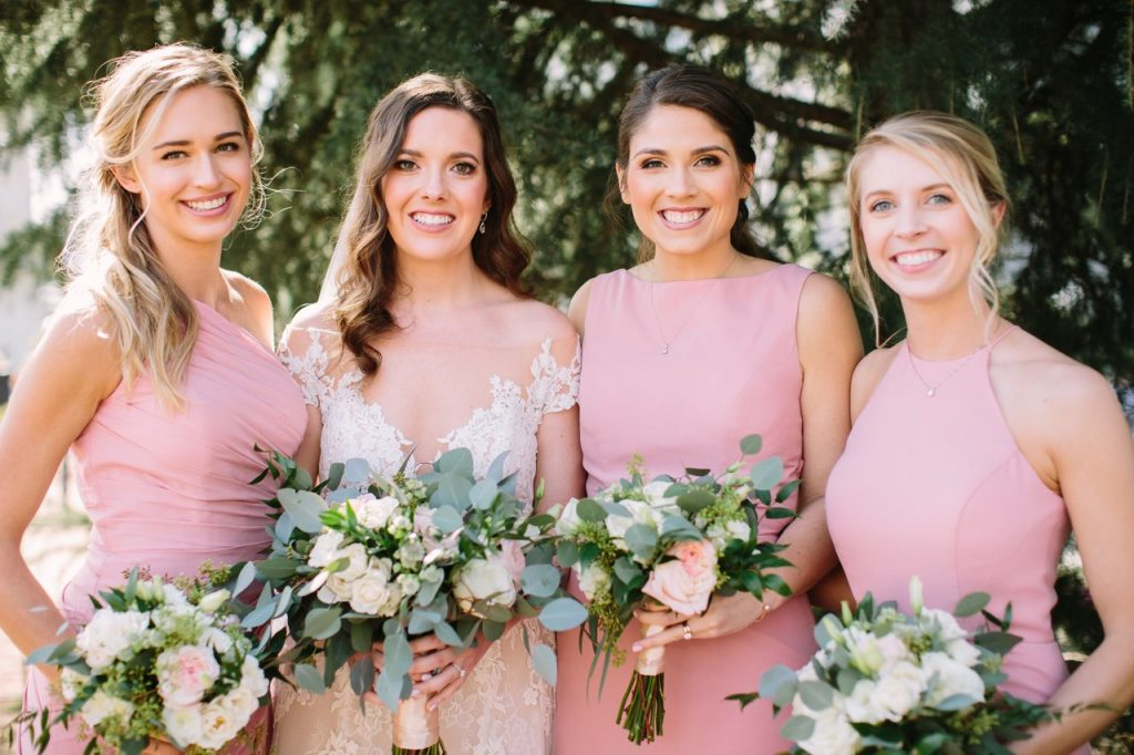Bride with 3 Bridesmaids in Dusty Pink Bridesmaids Dresses